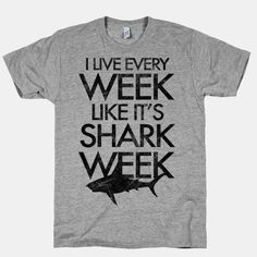 Sharks never go out of style! Show off your love and fascination of these underwater sea beasts with this bad ass Shark Week shirt!  The American Apparel Athletic T-shirt is a cotton, poly & rayon blend, ultra-soft t-shirt with a vintage style cut
