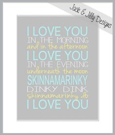SKINNAMARINKY I LOVE You - 8x10 Print - You Choose the Colours to perfectly match your room or decor - Tiffany Blue - Yellow - Grey on Etsy, $11.66