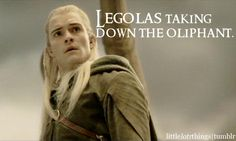Legolas taking down the Oliphant.