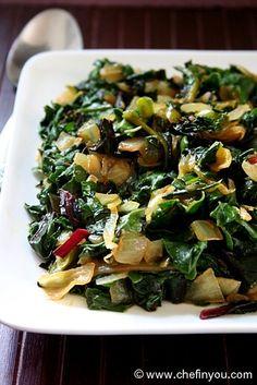 Beet Greens with Green Garlic Stir Fry by chefinyou: Super healthy stir fry! #Greens #Stir_Fry #chefinyou