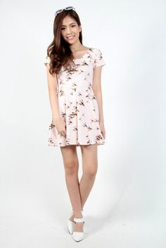Flying Swallows Skater Dress in Baby Pink SGD $28 @ The Stage Walk