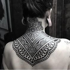 50 of the Most Beautiful Mandala Tattoo Designs for Your Body & Soul - ornamental mandala © Ellemental Tattoos - Tribal Neck Tattoos, Geometric Sleeve Tattoo, Neck Tattoos Women, Body Art Tattoos, Back Tattoo Women Upper, Cover Up Tattoos For Women, Upper Back Tattoos, Back Piece Tattoo, Back Of Neck Tattoo