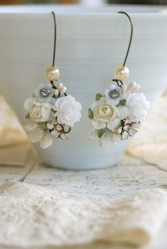 Reserved.white floral collage earrings. Tiedupmemories
