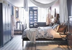 17 Nice IKEA Bedroom Designs To Inspire You : Outstanding IKEA Bedroom Design Inspiration with Classic Black Painted Iron Frame Bed and Smal...