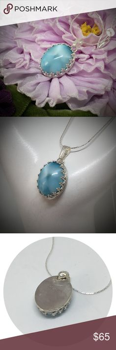 """🌼HOST PICK🌼Larimar Pendant set in 925 Sterling A beautiful handcrafted pendant made by me in my studio. The 16 x 12mm real Larimar cabachon is set in a handmade sterling silver setting. The bail is sterling silver and it includes an 18"""" sterling silver chain. Makes a great gift. designsbysteve Jewelry Necklaces"""