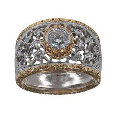 Buccellati Diamond Gold Ring | From a unique collection of vintage band rings at https://www.1stdibs.com/jewelry/rings/band-rings/