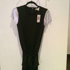 "NWT ⚙Michael Michael Kors jumpsuit⚙ Cal sleeve with chain detailing, crew neck, back zipper, tie-belt, pockets, ""Harem"" style pant Michael Kors Pants Jumpsuits & Rompers"