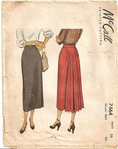 Vintage 40s McCall 7464 Straight Skirt, Back is STUNNING with Chevron Yoke and Soft Pleats, Waist 26, Sewing Pattern. $22.95, via Etsy.