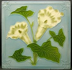 Antique Moulded Majolica, Art Nouveau Ollivant Ceramic Tile