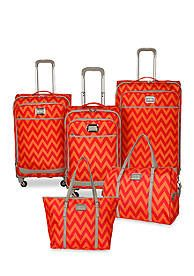 Jessica Simpson Chevron Luggage Collection - Orange Red Chevron