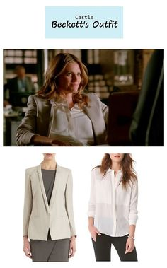 "On the blog: Kate Beckett's (Stana Katic) slim lapel blazer & white shirt | Castle - ""For Better or For Worse"" (Ep. 623) #tvstyle #tvfashion #outfits #fashion #seasonfinale #castlefinale #castlealways"