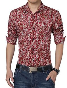 a27cfee04bf Men Long Sleeve Button Closure Front Paisleys Casual Shirt Burgundy L  uxcell http://
