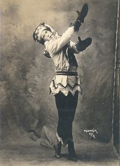 Valslav Nijinsky in the ballet Petrouchka. Photographs by Mishkin, New York City, 1916. Stravinsky-Diaghilev Foundation Collection. b MS Thr 495 (216). Gift of Parmenia Migel Ekstrom, 1990.