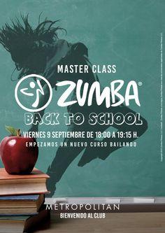 """Especial Zumba """"Back to school"""" para reactivarse después de las vacaciones. ¿Te apuntas? Viernes 9 de septiembre de 18:00 a 19:15 h. en Metropolitan Begoña."""