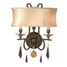 World Imports Turin Collection 2-Light Euro Bronze Wall Sconce
