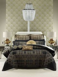 QUILT COVER SETS FITZGERALD - BLACK/GOLD 275 X 240CM (1 X QUILT COVER) 48 X 73CM (2 X PILLOWCASE)