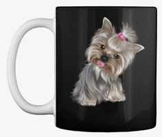 This Yorkie coffee mug design is perfect for dog and coffee lovers. As a Yorkie lover, you'll be proud to be seen enjoying your coffee from this mug. It's also available in other colors, and it is the perfect gift for your dog friends or family members. Coffee Lovers, Coffee Mugs, Unique Image, Mug Designs, Dog Friends, Yorkie, Your Dog, Just For You, Colors
