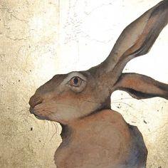 moonstruck brown. Watercolour painting. Jackie Morris hare