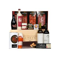 Grey's Gourmet Hamper - A comprehensive selection of Spanish foods into one Hamper, including two bottles of premium wine for a special gift, ...