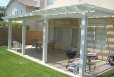 {combination patio cover - part solid / part open lattice} This would be perfect for us!