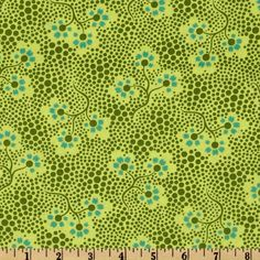 Amy Butler Cameo Forget Me Not Olive from @fabricdotcom  Designed by Amy Butler for Westminster Fabrics, this cotton print fabric is perfect for quilting, apparel and home décor accents. Colors include turquoise and olive on a citrine yellow background.