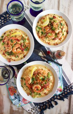 Super easy and ready in minutes, this easy Cheesy Shrimp and Grits recipe is the ultimate comfort food. From RecipeGirl.com