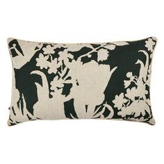 The Bonnie and Neil Iris Green 75x45cm cushion features original artwork by Bonnie hand screen printed on white linen. The reverse of the cushion features the same design printed in forest green on oat linen. #cushion #cushions #bonnieandneil #nochintz #softfurnishings #textiles #interior #interiordecorating