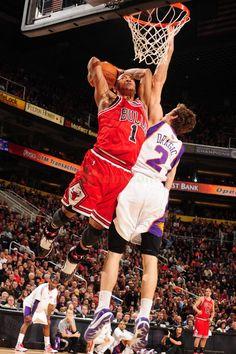 "Derrick Rose dunk on Dragic. ""Derrick Rose can go upstairs!"""