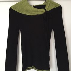 S Brand Italian Sweater This unique black long sleeved sweater is made of acrylic and wool and a contrasting collar in pretty shade of green has mohair and nylon. It has never been worn and is in perfect condition.it is a medium but it runs more like a small. Very small. S Sweaters