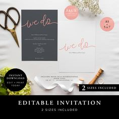 Wedding Invitation (We Do Collection) Rose Gold - DIY Printable Wedding Stationery, Template Set, Simple to edit INSTANT DOWNLOAD by JellypressPrintables on Etsy