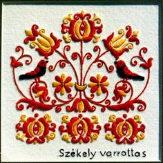 Hungarian folk pattern from Székelyföld, Transylvania. Hungarian Embroidery, Folk Embroidery, Learn Embroidery, Chain Stitch Embroidery, Embroidery Stitches, Embroidery Patterns, Stitch Head, Art Du Fil, Embroidery Techniques