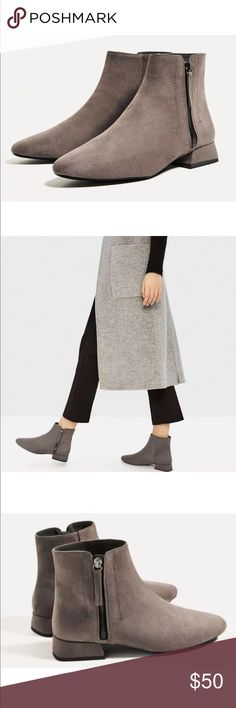 Zara grey boots brand new comfy boots Zara Shoes