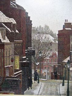 """""""Flask Walk under Snow by Charles Ginner 1937 (Private Collection). Urban Landscape, Landscape Art, Landscape Paintings, Landscapes, Painting Snow, Painting & Drawing, London Painting, Snow Art, Building Art"""