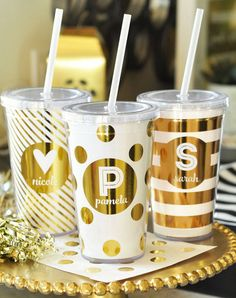gold personalized bridesmaid tumbler