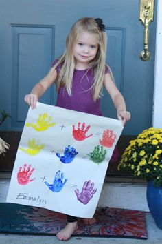 Hand Print Color Chart   Demonstrate how primary colors are combined to make orange, green, and purple.  Children love to create the new colors.  oversized fingerpaint paper; red, yellow, blue paint 5. Primary colors + children
