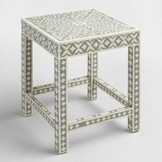 White and Gray Bone Inlay Accent Table | World Market