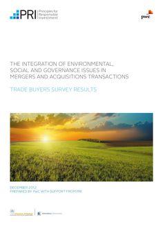 Etude PwC sur l'intégration de facteurs ESG dans les activités de fusions-acquisitions. http://pwc.to/15JdJxV