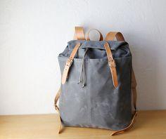 Ciré toile et cuir sac à dos / / jour Pack par infusion sur Etsy