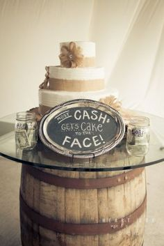 Wedding cake SMASH! Such a fun idea.  Also like the cake, it simple but pretty but in different colors.
