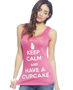 """Life is just better with some sweetness in it, so rock this chic tank featuring """"Keep Calm And Have A Cupcake"""" screen printed along the front a super soft and stretchy knit body with a scoop neckline.  Model is 5'9"""" and wears a size small   95% Rayon / 5% Spandex Machine Wash USA"""