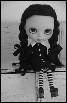 b & w Wednesday Addams