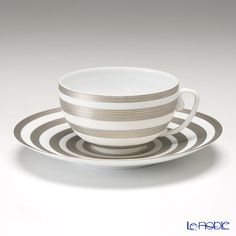 JL Koke Hemisphere Platinum stripe tea cup and saucer