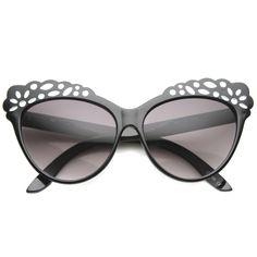 Women's Cat Eye Lace Pattern Festival Sunglasses 9969