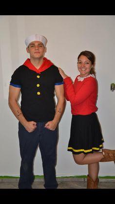 Homemade Popeye and Olive Oyl costume