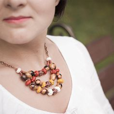 Terracotta mustard yellow ivory and brown by EmeraldFlameCrafts Red Necklace, Ethnic Fashion, Mustard Yellow, Terracotta, Natural Stones, Seed Beads, Woodland, Boho Chic, Ivory