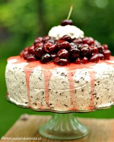 Cake with cherries and chocolate