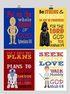 Nursery kids room boy Bible verse art Ephesians Joshua Jeremiah Micah Star Wars Set of 4 - Christian Nursery Decor Wall Art Print - Luke Skywalker, Darth Vader, R2D2, C-3PO - Bible Verse - Multiple Sizes #ad