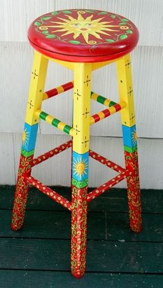Whimzical Hand Painted Bench | hand painted chairs (hand painted chairs, stools, benches, seating)