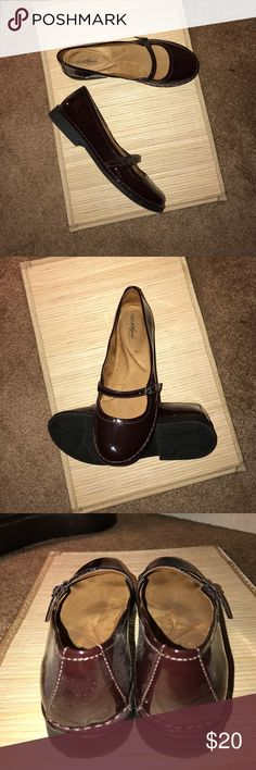 Women's flats Naturalizer flat Mary Janes in dark chocolate faux patent leather. Worn once Shoes Flats & Loafers