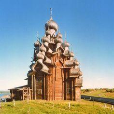 Construcción de madera de la isla Kizhi, en Rusia